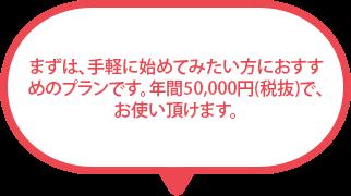 まずは、手軽に始めてみたい方におすすめのプランです。 年間 29,800円(税抜)で、お使いいただけます。